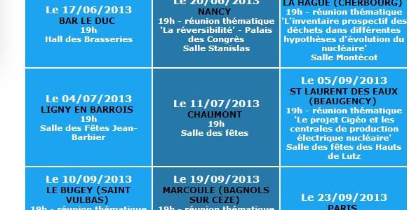 Voici la liste des débats publics sur CIGEO du 15 mai au 15 octobre. Le 11 juillet à Chaumont ...