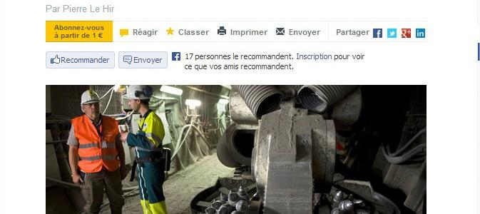 Le site internet du journal Le Monde évoque les difficultés de la mise en place du débat public organisé par le CNDP et donne les dates des débats alternatifs des 4 et 10 juillet 2013 à Bar le Duc et Chaumont.